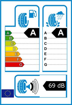 EU-Reifel-Label Kraftstoffeffizienz-Klasse A Nasshaftung-Klasse A Rollgeraeusch-Klasse 1 Rollgeraeusch-dB 69