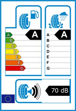 EU-Reifel-Label Kraftstoffeffizienz-Klasse A Nasshaftung-Klasse A Rollgeraeusch-Klasse 2 Rollgeraeusch-dB 70