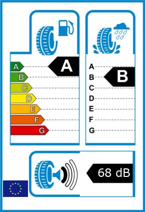EU-Reifel-Label Kraftstoffeffizienz-Klasse A Nasshaftung-Klasse B Rollgeraeusch-Klasse 1 Rollgeraeusch-dB 68