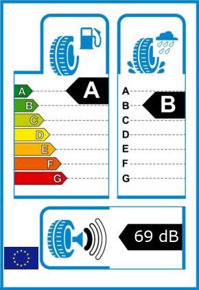 EU-Reifel-Label Kraftstoffeffizienz-Klasse A Nasshaftung-Klasse B Rollgeraeusch-Klasse 1 Rollgeraeusch-dB 69