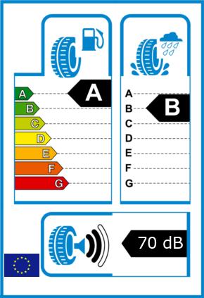 EU-Reifel-Label Kraftstoffeffizienz-Klasse A Nasshaftung-Klasse B Rollgeraeusch-Klasse 2 Rollgeraeusch-dB 70