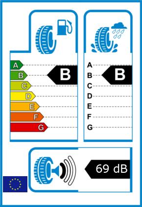 EU-Reifel-Label Kraftstoffeffizienz-Klasse B Nasshaftung-Klasse B Rollgeraeusch-Klasse 1 Rollgeraeusch-dB 69