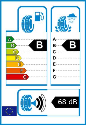 EU-Reifel-Label Kraftstoffeffizienz-Klasse B Nasshaftung-Klasse B Rollgeraeusch-Klasse 2 Rollgeraeusch-dB 68