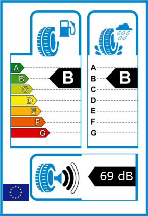 EU-Reifel-Label Kraftstoffeffizienz-Klasse B Nasshaftung-Klasse B Rollgeraeusch-Klasse 2 Rollgeraeusch-dB 69