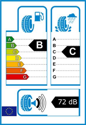 EU-Reifel-Label Kraftstoffeffizienz-Klasse B Nasshaftung-Klasse C Rollgeraeusch-Klasse 1 Rollgeraeusch-dB 72