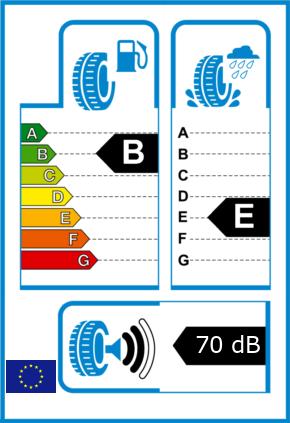 EU-Reifel-Label Kraftstoffeffizienz-Klasse B Nasshaftung-Klasse E Rollgeraeusch-Klasse 2 Rollgeraeusch-dB 70
