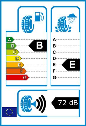 EU-Reifel-Label Kraftstoffeffizienz-Klasse B Nasshaftung-Klasse E Rollgeraeusch-Klasse 3 Rollgeraeusch-dB 72