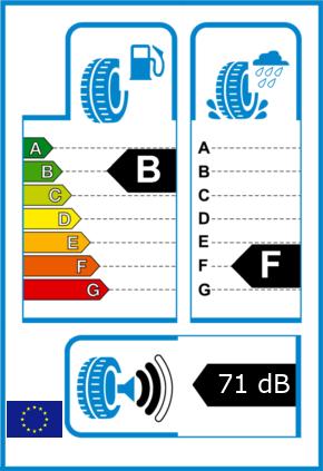 EU-Reifel-Label Kraftstoffeffizienz-Klasse B Nasshaftung-Klasse F Rollgeraeusch-Klasse 2 Rollgeraeusch-dB 71