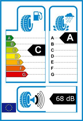 EU-Reifel-Label Kraftstoffeffizienz-Klasse C Nasshaftung-Klasse A Rollgeraeusch-Klasse 1 Rollgeraeusch-dB 68