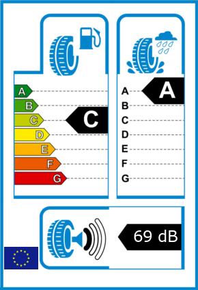 EU-Reifel-Label Kraftstoffeffizienz-Klasse C Nasshaftung-Klasse A Rollgeraeusch-Klasse 1 Rollgeraeusch-dB 69