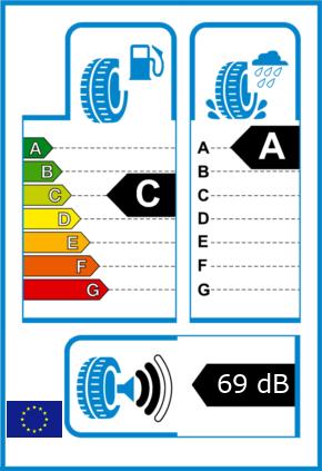 EU-Reifel-Label Kraftstoffeffizienz-Klasse C Nasshaftung-Klasse A Rollgeraeusch-Klasse 2 Rollgeraeusch-dB 69