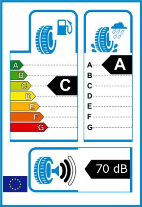 EU-Reifel-Label Kraftstoffeffizienz-Klasse C Nasshaftung-Klasse A Rollgeraeusch-Klasse 2 Rollgeraeusch-dB 70