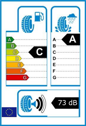 EU-Reifel-Label Kraftstoffeffizienz-Klasse C Nasshaftung-Klasse A Rollgeraeusch-Klasse 2 Rollgeraeusch-dB 73