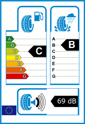 EU-Reifel-Label Kraftstoffeffizienz-Klasse C Nasshaftung-Klasse B Rollgeraeusch-Klasse 1 Rollgeraeusch-dB 69