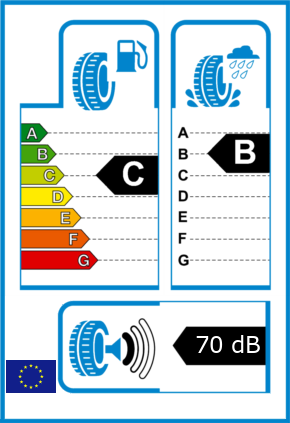 EU-Reifel-Label Kraftstoffeffizienz-Klasse C Nasshaftung-Klasse B Rollgeraeusch-Klasse 1 Rollgeraeusch-dB 70