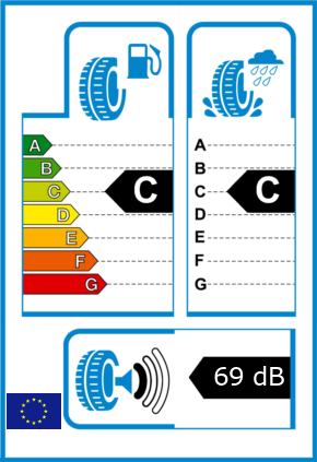 EU-Reifel-Label Kraftstoffeffizienz-Klasse C Nasshaftung-Klasse C Rollgeraeusch-Klasse 1 Rollgeraeusch-dB 69