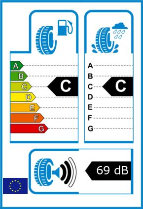 EU-Reifel-Label Kraftstoffeffizienz-Klasse C Nasshaftung-Klasse C Rollgeraeusch-Klasse 2 Rollgeraeusch-dB 69