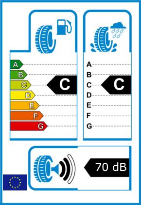 EU-Reifel-Label Kraftstoffeffizienz-Klasse C Nasshaftung-Klasse C Rollgeraeusch-Klasse 2 Rollgeraeusch-dB 70