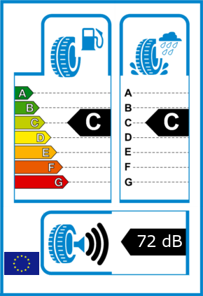 EU-Reifel-Label Kraftstoffeffizienz-Klasse C Nasshaftung-Klasse C Rollgeraeusch-Klasse 3 Rollgeraeusch-dB 72