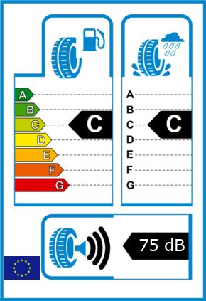 EU-Reifel-Label Kraftstoffeffizienz-Klasse C Nasshaftung-Klasse C Rollgeraeusch-Klasse 3 Rollgeraeusch-dB 75