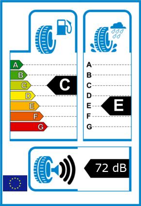 EU-Reifel-Label Kraftstoffeffizienz-Klasse C Nasshaftung-Klasse E Rollgeraeusch-Klasse 3 Rollgeraeusch-dB 72