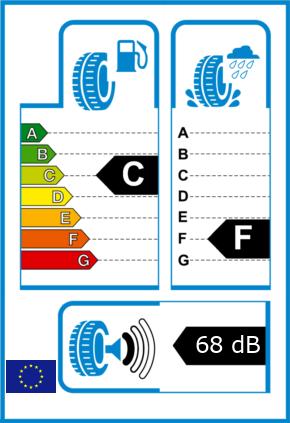 EU-Reifel-Label Kraftstoffeffizienz-Klasse C Nasshaftung-Klasse F Rollgeraeusch-Klasse 1 Rollgeraeusch-dB 68