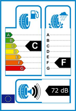EU-Reifel-Label Kraftstoffeffizienz-Klasse C Nasshaftung-Klasse F Rollgeraeusch-Klasse 2 Rollgeraeusch-dB 72