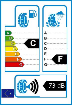 EU-Reifel-Label Kraftstoffeffizienz-Klasse C Nasshaftung-Klasse F Rollgeraeusch-Klasse 3 Rollgeraeusch-dB 73
