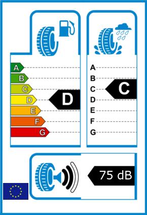 EU-Reifel-Label Kraftstoffeffizienz-Klasse D Nasshaftung-Klasse C Rollgeraeusch-Klasse 2 Rollgeraeusch-dB 75