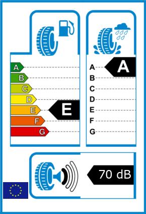 EU-Reifel-Label Kraftstoffeffizienz-Klasse E Nasshaftung-Klasse A Rollgeraeusch-Klasse 1 Rollgeraeusch-dB 70