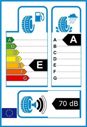 EU-Reifel-Label Kraftstoffeffizienz-Klasse E Nasshaftung-Klasse A Rollgeraeusch-Klasse 2 Rollgeraeusch-dB 70