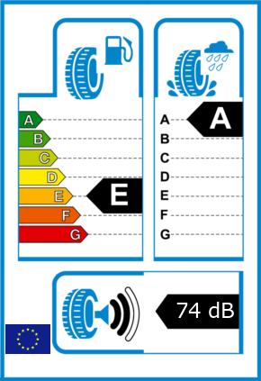 EU-Reifel-Label Kraftstoffeffizienz-Klasse E Nasshaftung-Klasse A Rollgeraeusch-Klasse 2 Rollgeraeusch-dB 74
