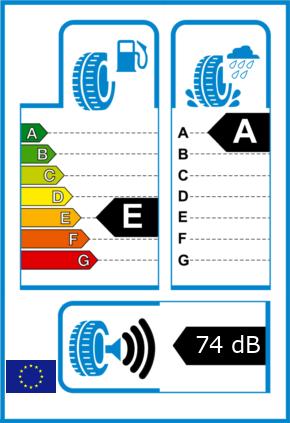 EU-Reifel-Label Kraftstoffeffizienz-Klasse E Nasshaftung-Klasse A Rollgeraeusch-Klasse 3 Rollgeraeusch-dB 74