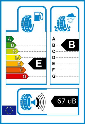 EU-Reifel-Label Kraftstoffeffizienz-Klasse E Nasshaftung-Klasse B Rollgeraeusch-Klasse 1 Rollgeraeusch-dB 67