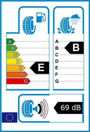 EU-Reifel-Label Kraftstoffeffizienz-Klasse E Nasshaftung-Klasse B Rollgeraeusch-Klasse 1 Rollgeraeusch-dB 69