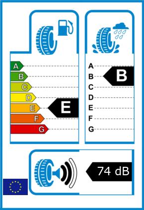 EU-Reifel-Label Kraftstoffeffizienz-Klasse E Nasshaftung-Klasse B Rollgeraeusch-Klasse 2 Rollgeraeusch-dB 74