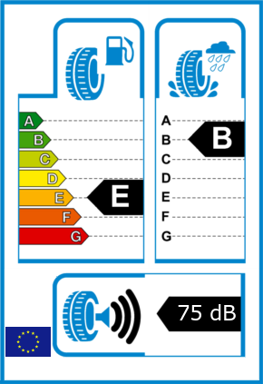 EU-Reifel-Label Kraftstoffeffizienz-Klasse E Nasshaftung-Klasse B Rollgeraeusch-Klasse 3 Rollgeraeusch-dB 75