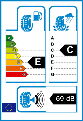 EU-Reifel-Label Kraftstoffeffizienz-Klasse E Nasshaftung-Klasse C Rollgeraeusch-Klasse 1 Rollgeraeusch-dB 69