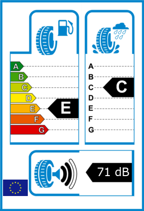 EU-Reifel-Label Kraftstoffeffizienz-Klasse E Nasshaftung-Klasse C Rollgeraeusch-Klasse 2 Rollgeraeusch-dB 71