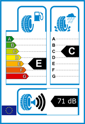 EU-Reifel-Label Kraftstoffeffizienz-Klasse E Nasshaftung-Klasse C Rollgeraeusch-Klasse 3 Rollgeraeusch-dB 71