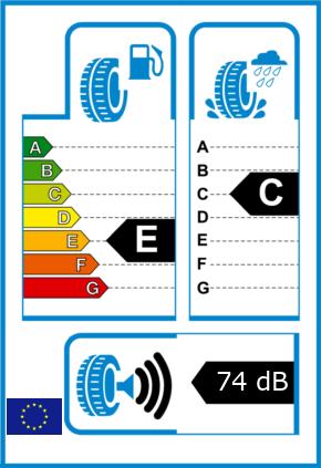 EU-Reifel-Label Kraftstoffeffizienz-Klasse E Nasshaftung-Klasse C Rollgeraeusch-Klasse 3 Rollgeraeusch-dB 74