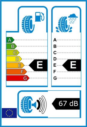 EU-Reifel-Label Kraftstoffeffizienz-Klasse E Nasshaftung-Klasse E Rollgeraeusch-Klasse 1 Rollgeraeusch-dB 67