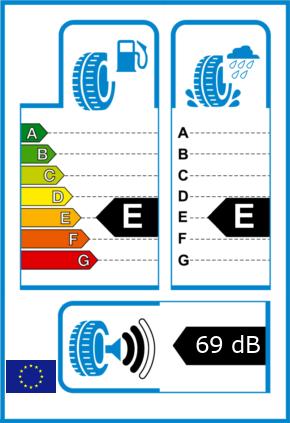 EU-Reifel-Label Kraftstoffeffizienz-Klasse E Nasshaftung-Klasse E Rollgeraeusch-Klasse 2 Rollgeraeusch-dB 69