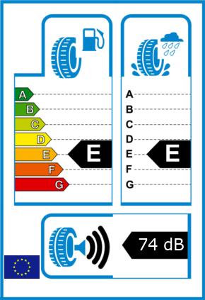 EU-Reifel-Label Kraftstoffeffizienz-Klasse E Nasshaftung-Klasse E Rollgeraeusch-Klasse 3 Rollgeraeusch-dB 74