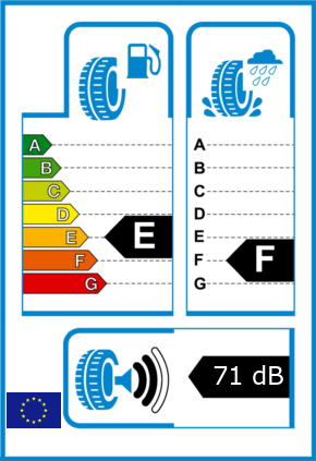 EU-Reifel-Label Kraftstoffeffizienz-Klasse E Nasshaftung-Klasse F Rollgeraeusch-Klasse 2 Rollgeraeusch-dB 71