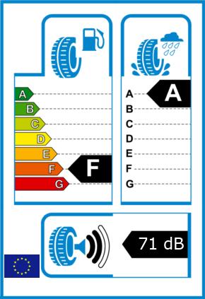 EU-Reifel-Label Kraftstoffeffizienz-Klasse F Nasshaftung-Klasse A Rollgeraeusch-Klasse 2 Rollgeraeusch-dB 71