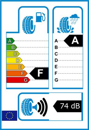 EU-Reifel-Label Kraftstoffeffizienz-Klasse F Nasshaftung-Klasse A Rollgeraeusch-Klasse 3 Rollgeraeusch-dB 74