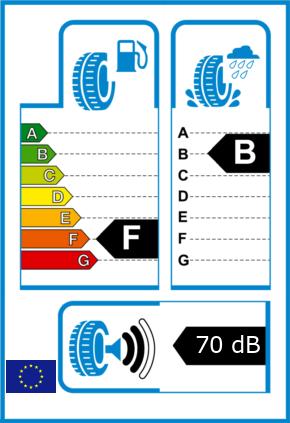 EU-Reifel-Label Kraftstoffeffizienz-Klasse F Nasshaftung-Klasse B Rollgeraeusch-Klasse 2 Rollgeraeusch-dB 70