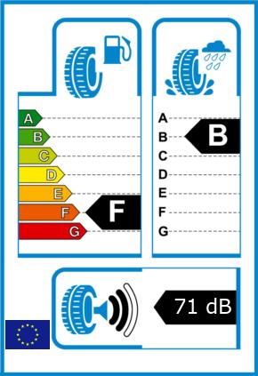 EU-Reifel-Label Kraftstoffeffizienz-Klasse F Nasshaftung-Klasse B Rollgeraeusch-Klasse 2 Rollgeraeusch-dB 71