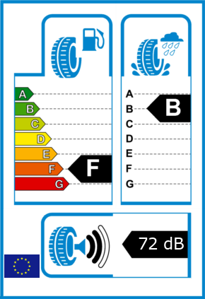 EU-Reifel-Label Kraftstoffeffizienz-Klasse F Nasshaftung-Klasse B Rollgeraeusch-Klasse 2 Rollgeraeusch-dB 72